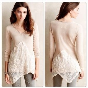 Anthropologie Angel of the North Sweater with Lace